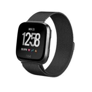 Fitbit Versa bandje milanese loop RVS zwart kleurig_006