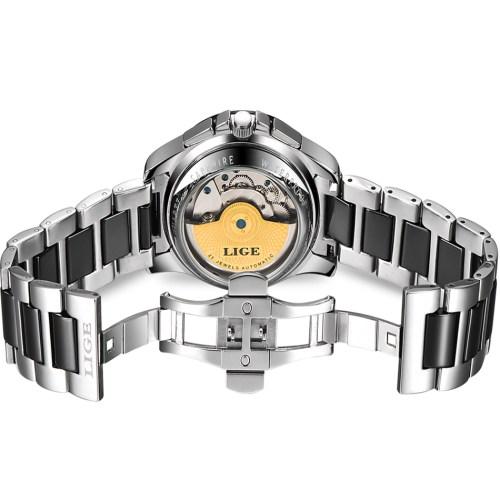 LIGE Brand Luxury Ceramic Automatic Watch for Men