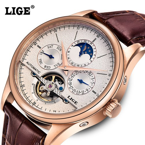 LIGE men automatic mechanical tourbillon watch