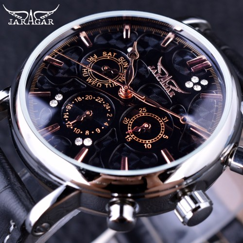 Jaragar Automatic Swirl Three Dial Black Men Watch