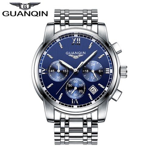 GUANQIN Stainless Steel Waterproof Luminous Men Watch