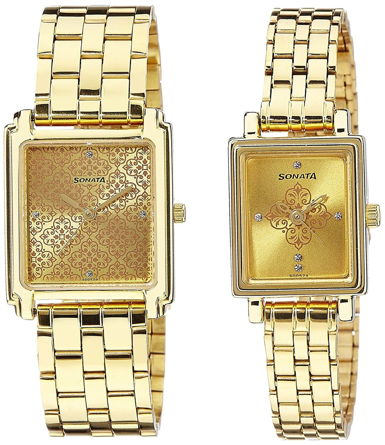 Sonata Analog Champagne Dial Couple's Watch – 70538080YM01