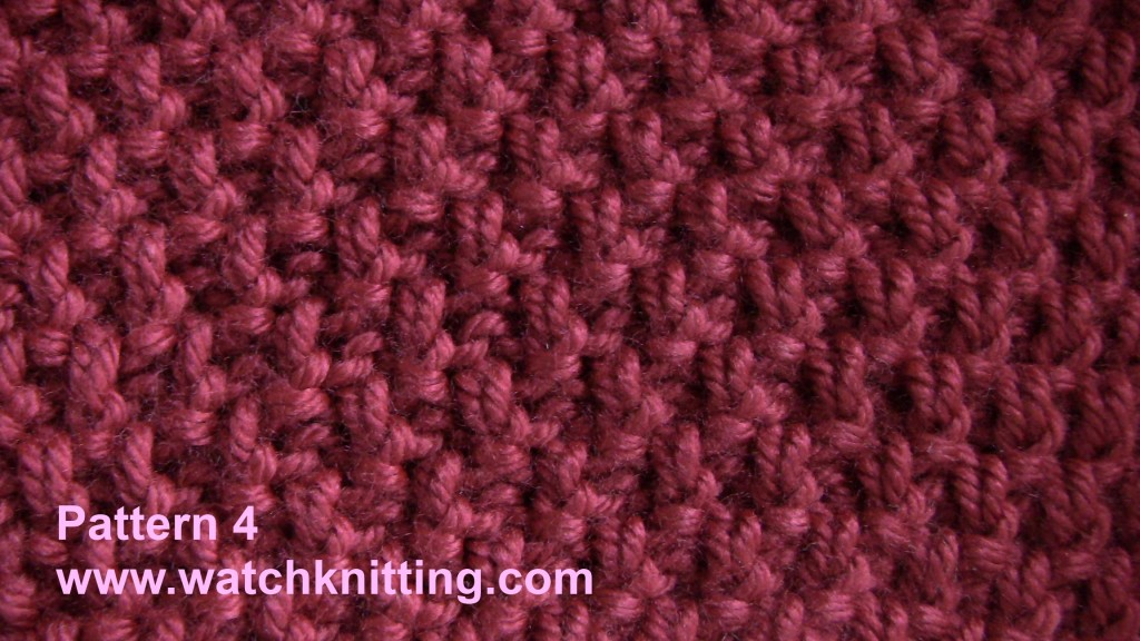 Knitting Stitches Pm :   Pattern 4   Moss Stitch