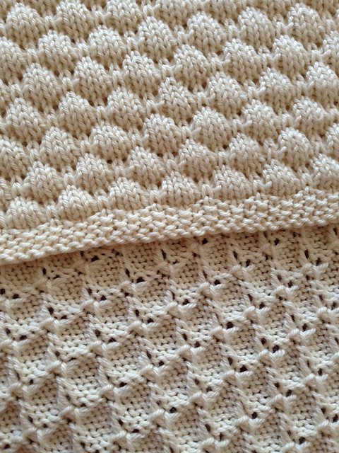 Blanket pattern with coin/blister/tuck stitch