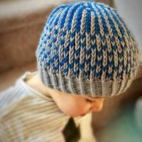 Easy two-color Brioche Rib stitch hat on circular