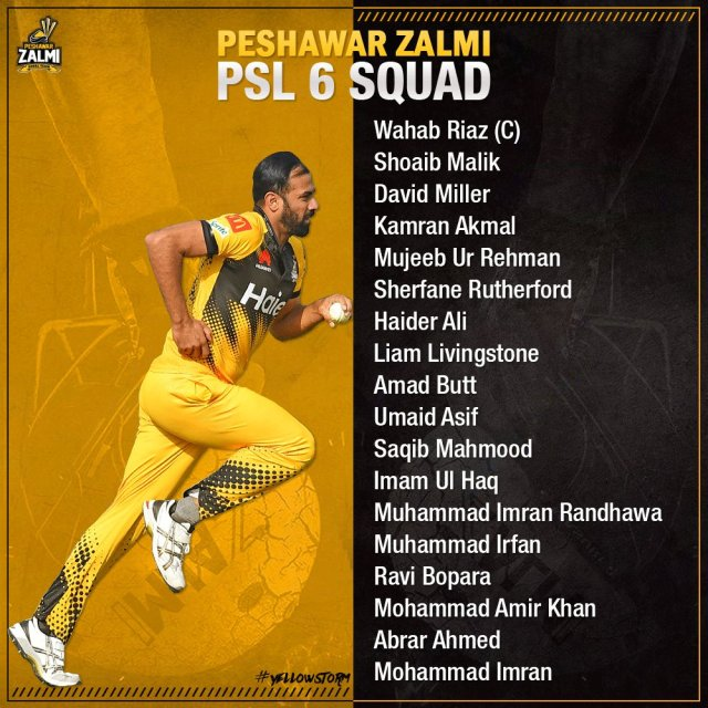 Peshawar Zalmi Current Squad 2021 PSL 6