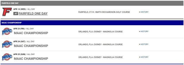 Women Golf Schedule La Salle 2021