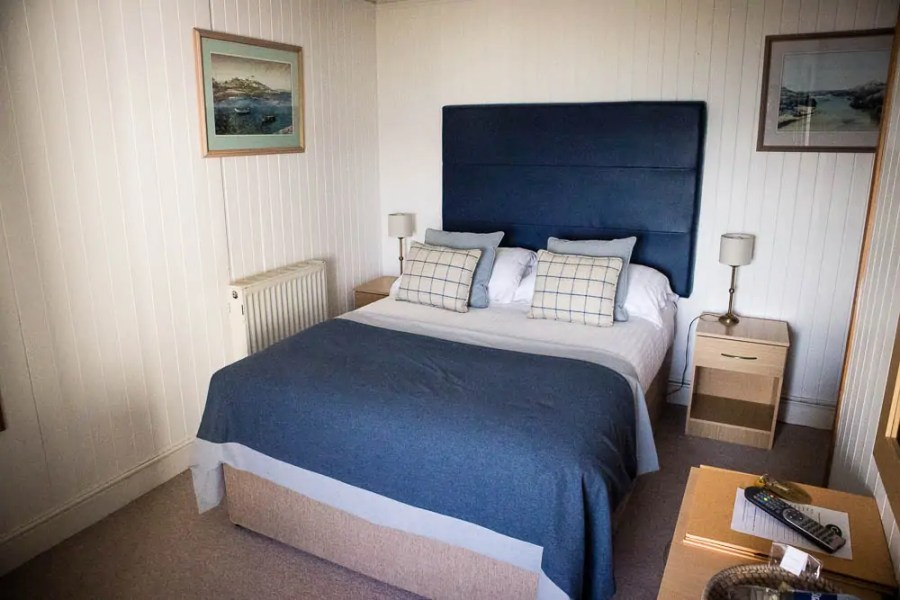 A double bed room at Coll Hotel.