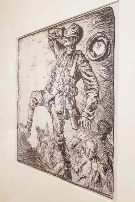 """One of Frank Brangwyn's lithographs entitled """"Art in Aid of Blind Soldiers and Sailors"""" at Kelvingrove Museum in Glasgow."""