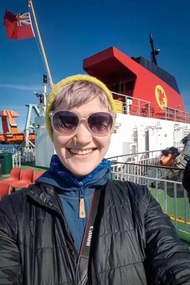A selfie of a woman on a Calmac ferry.