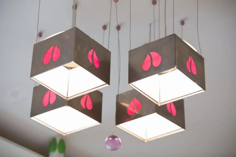 Mackintosh-designed lamps at House for at Art Lover in Glasgow.