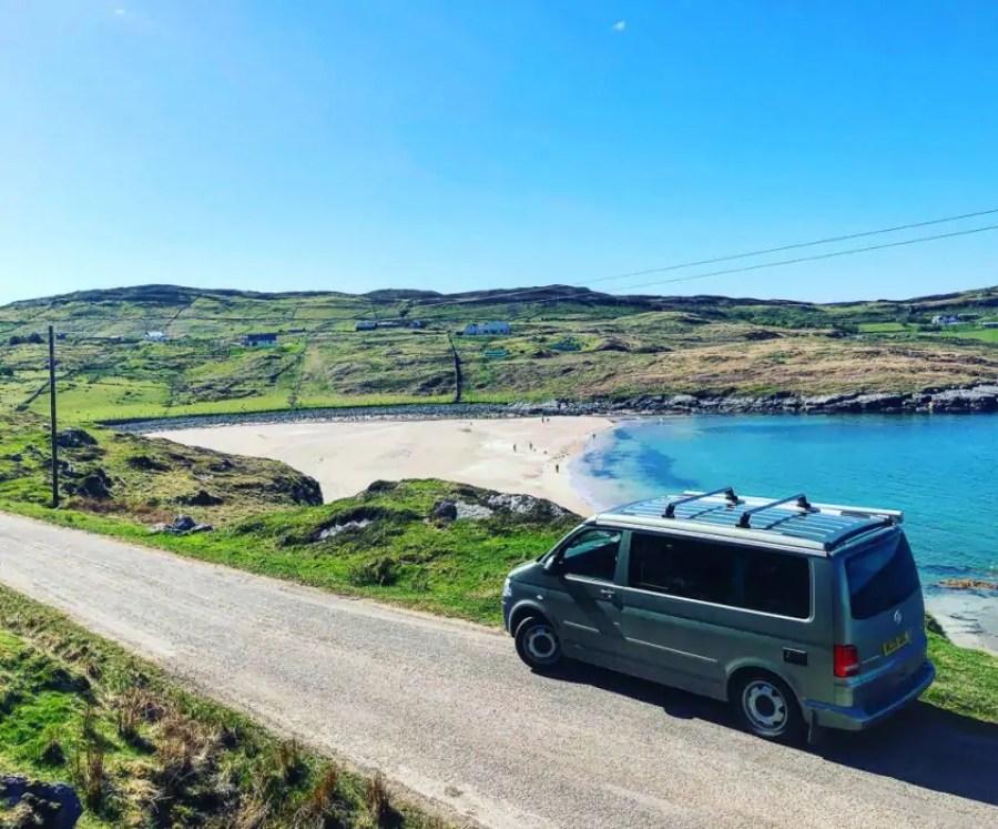 A campervan by a Scottish beach