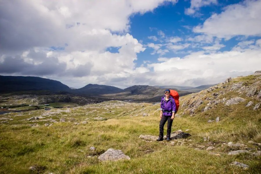 Carrying my big backpack through the mountains of Harris along the Hebridean Way.