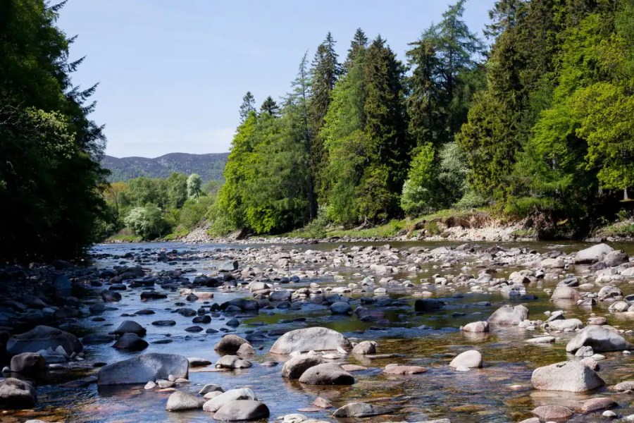 The river Dee flows through the quaint Royal Deeside valley.