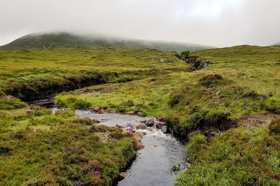 Day 8 Cloudy mountain views and a river on Harris - Hebridean Way in 12 days