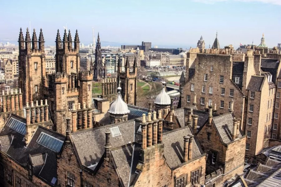 View over Edinburgh's Old Town from the top of Camera Obscura museum