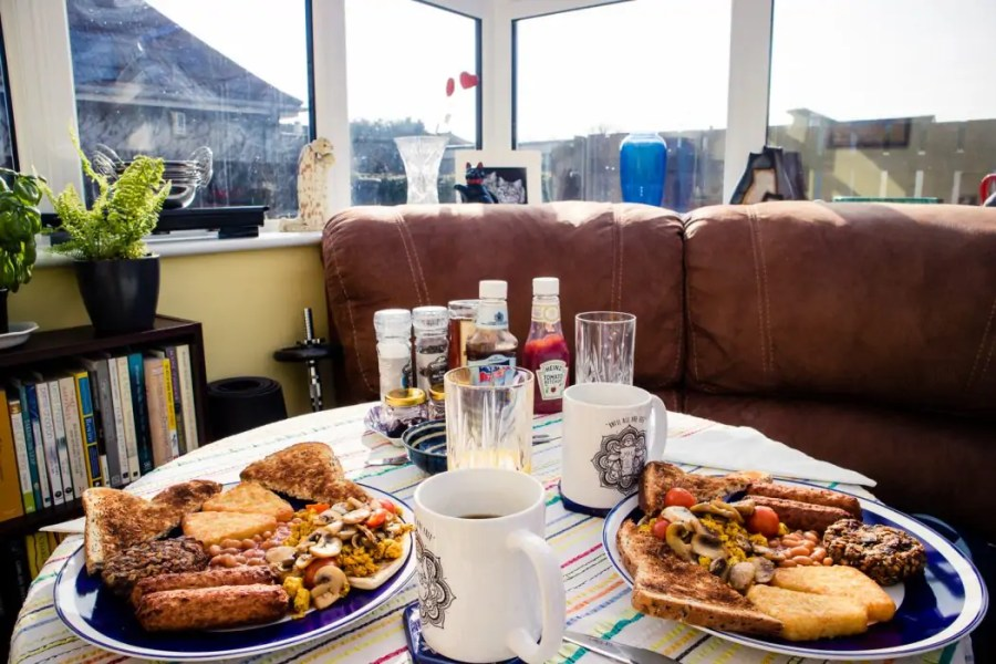 Vegan breakfast at the Cosy Vegan B&B in Fife.