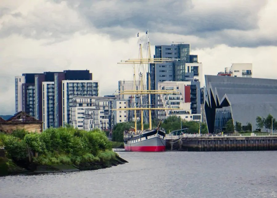 The Tall Ship museum ship anchored outside the Riverside Museum in Glasgow.