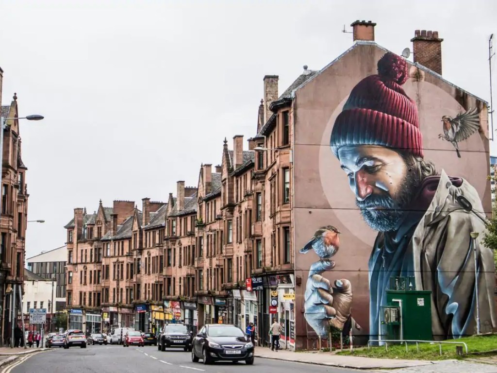 Mural of St Mungo in Glasgow's oldest quarter near Glasgow Cathedral.