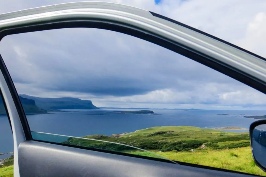 The single track roads on the northwest coast of Mull make for a scenic drive, and gorgeous views are a constant sight through the window of you car.