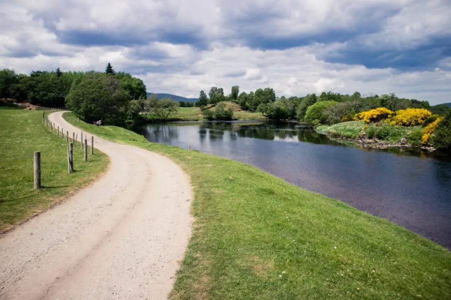 Walking along the river Spey on the Speyside Way.