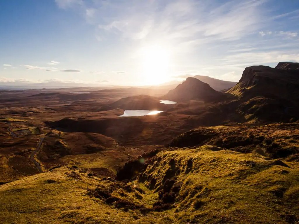 The Quiraing mountains on Skye at sunrise.