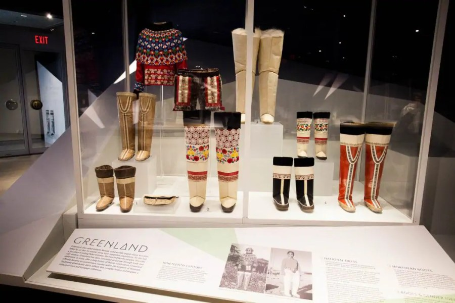 Exhibition of Inuit footwear at the Bata Shoe Museum in Toronto.