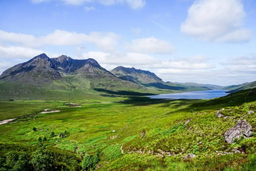 View from Shenavall bothy on Cape Wrath Trail in Scotland