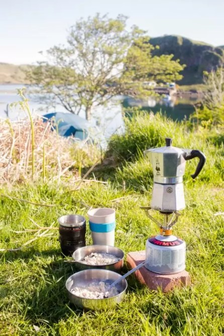 Making breakfast at the campsite near Oban