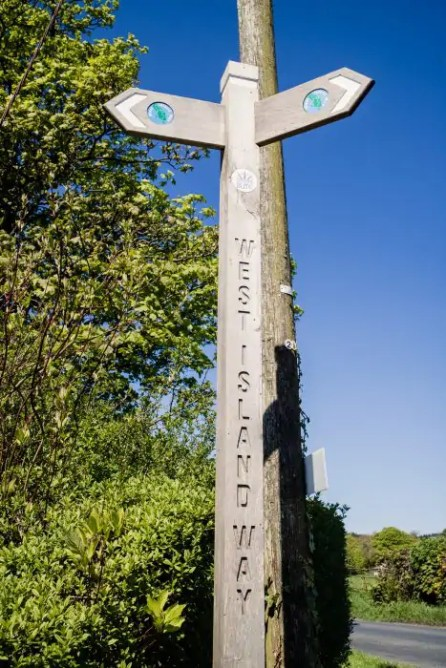 A way marker of the West Island Way on the Isle of Bute.
