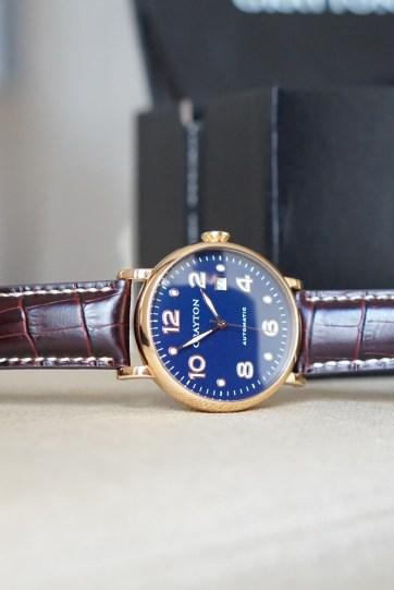 Grayton automatic watches recto cadran bleu satin