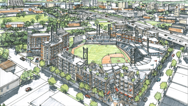 proposed downtown knoxville smokies stadium rendering