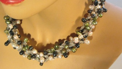 Nuggetparel combinatie, zwartgroen, olijfgroen, lichtroze 1