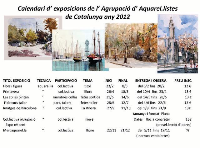 AGRUPACIÓ D'AQUAREL.LISTES DE CATALUNYA 2012