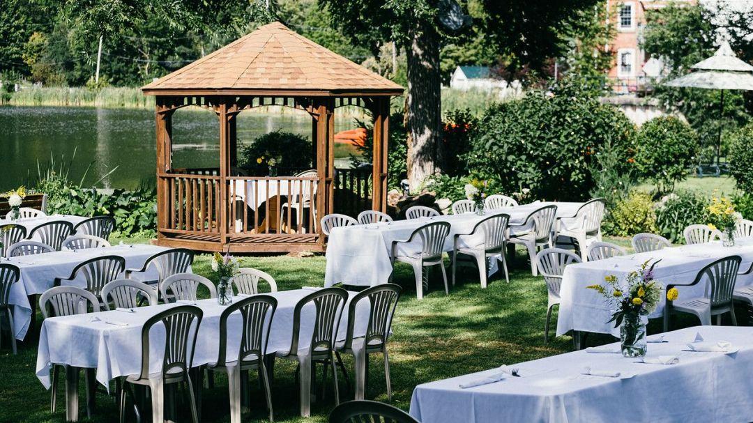 The backyard of the Cove Pub in Westport, Ontario.