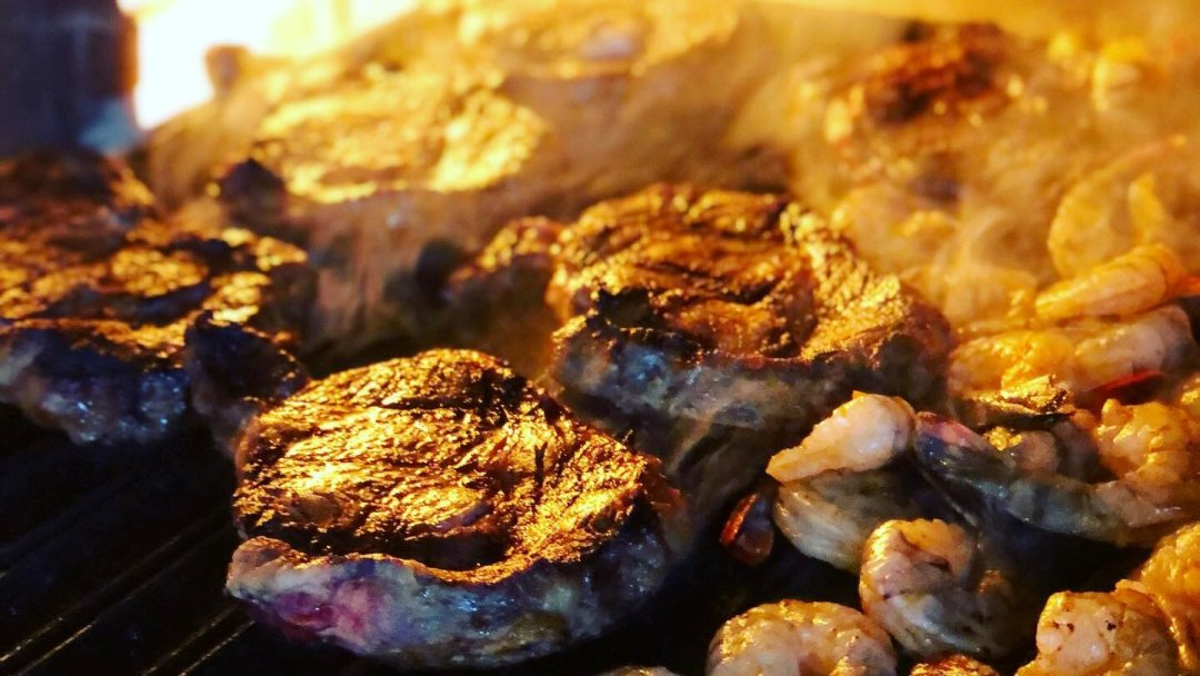 Steak and shrimp at the Scheuermann Winery in Westport, Ontario.