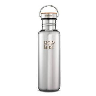 bouteille inox 532 ml avec bouchon inox bambou klean kanteen brillant