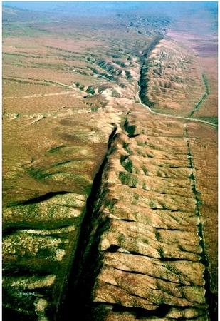 San Andreas Fault - LA on the Pacific Plate and SF on the North American Plate, sliding towards each other.