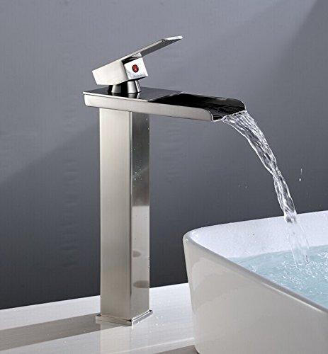 Eyekepper Tall Nickel Brushed Waterfall Bathroom Sink Vessel Faucet Open  Channel Basin Mixer Tap Long Bath