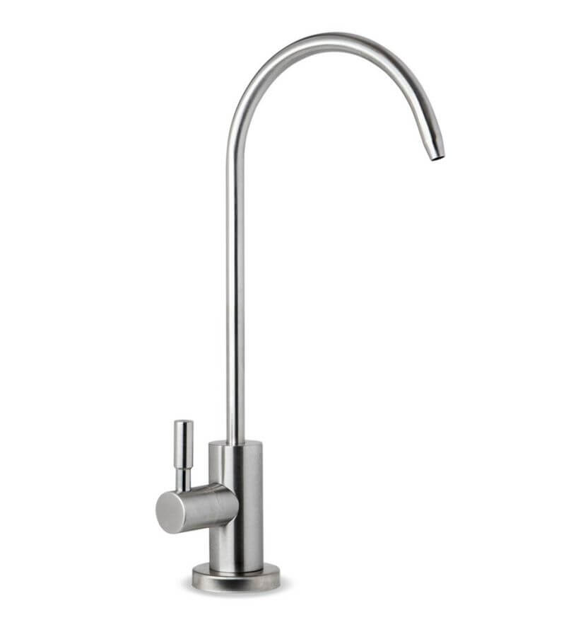 drinking water faucet for reverse osmosis water filtration systems in brushed nickel