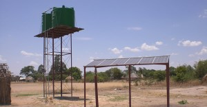 water tanks and solar panels
