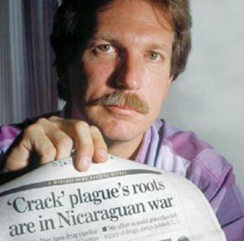 The real Gary Webb with his scandalous article; he deserves a movie that provides real answers.