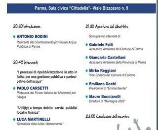 Ripubblicizzare il servizio idrico a Parma. Incontro pubblico il 9 maggio