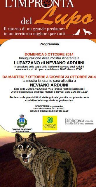 L'impronta del lupo. Mostra itinerante a Neviano Arduini (PR) 5/23 ottobre