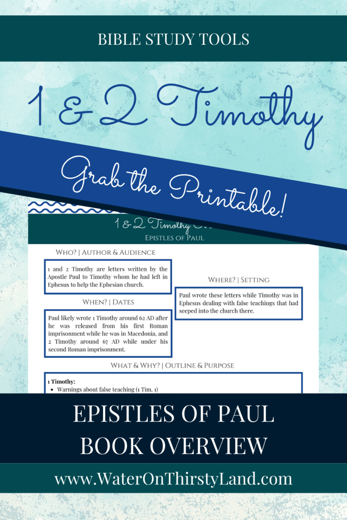 1 & 2 Timothy Book Overview Printable