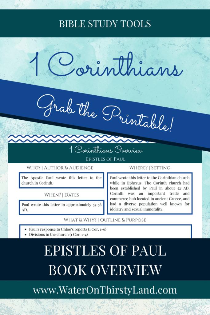 1 Corinthians Book Overview Printable
