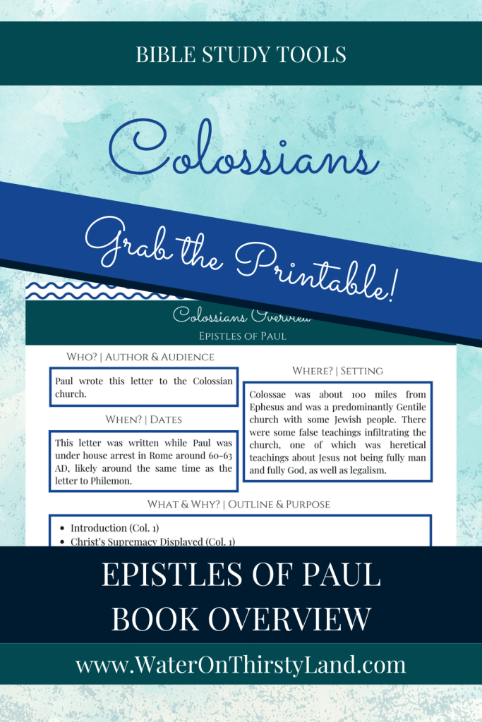 Colossians Book Overview Printable