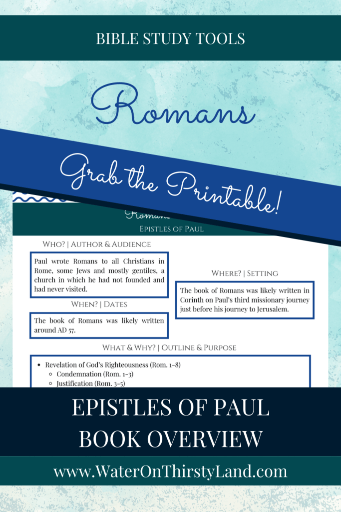 Romans Book Overview Printable