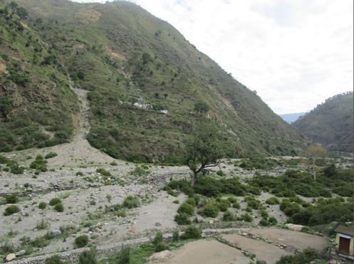 A view of Barren land as a result of soil erosion in watershed area