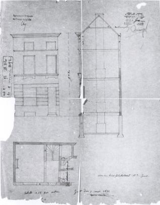 voorgevel - doorsnede - plan - vierde kwart negentiende eeuw (1892) - bouwaanvraag SAG 1892-B20. Beeld: Stadsarchief Gent